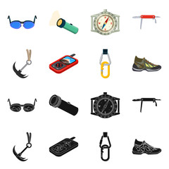 Vector design of mountaineering and peak icon. Set of mountaineering and camp stock vector illustration.