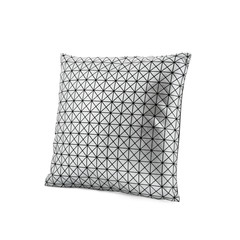 Silver cushion with triangle pattern isolated on white background