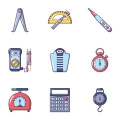 Measuring instrument icons set. Cartoon set of 9 measuring instrument vector icons for web isolated on white background