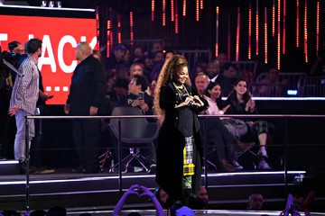Singer Janet Jackson talks after receiving a Global Icon award at the 2018 MTV Europe Music Awards at Bilbao Exhibition Centre in Bilbao