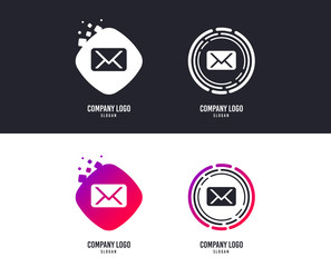 Logotype concept. Mail icon. Envelope symbol. Message sign. Mail navigation button. Logo design. Colorful buttons with icons. Vector