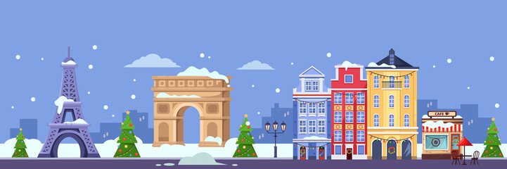 Winter in Paris. Vector flat illustration. Christmas and New Year travel to France