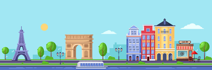 Summer season in Paris. Vector flat illustration of cityscape with Eiffel tower, Triumphal Arch and old buildings.