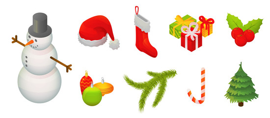 Snowmen christmas icon set. Isometric set of snowmen christmas vector icons for web design isolated on white background