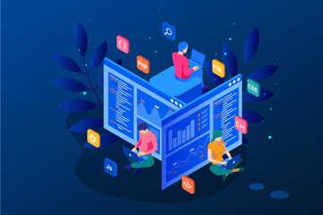 Isometric programmer coding new project. Web Development and Programming Skills for website. WEB Banner illustration project team of engineers for website, PHP, HTML, C++, CSS, Js.