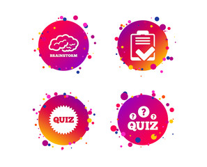 Quiz icons. Brainstorm or human think. Checklist symbol. Survey poll or questionnaire feedback form. Questions and answers game sign. Gradient circle buttons with icons. Random dots design. Vector