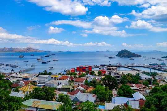 The busy, colorful port of Labuan Bajo on the Indonesian island of Flores in East Nusa Tenggara province