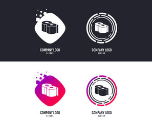 Logotype concept. Toilet papers sign icon. WC roll symbol. Logo design. Colorful buttons with icons. Vector