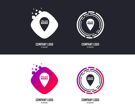 Logotype concept. You are here sign icon. Info map pointer with your location. Logo design. Colorful buttons with icons. Vector
