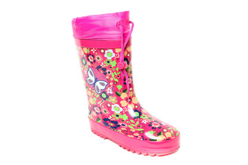 Kids Colorful Rubber Rain Boots on white background