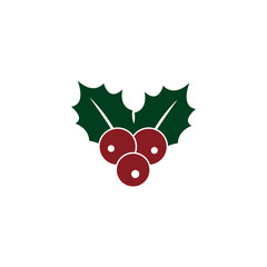 Holly berry icon. Christmas symbol vector illustration on white