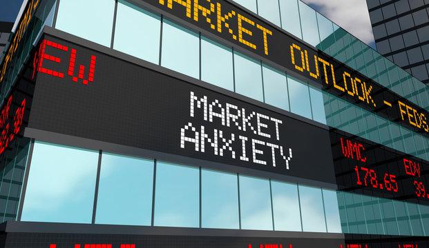 Market Anxiety Stock Ticker Building 3d Illustration