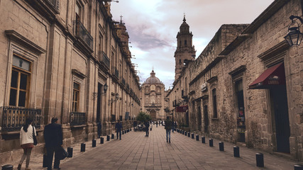 Morelia alley leading to cathedral Wall mural