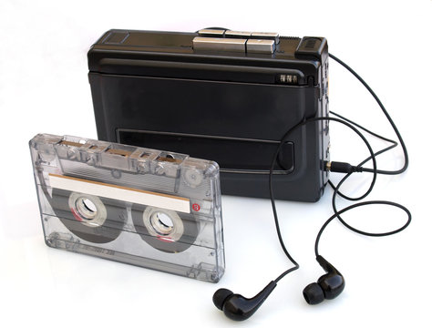 vintage walkman and music cassette tape,  80s styled music