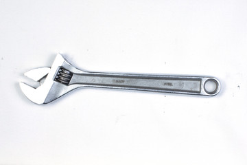 Silver metal spanner tool, isolated.