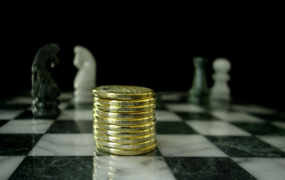 Gold coins on chess board