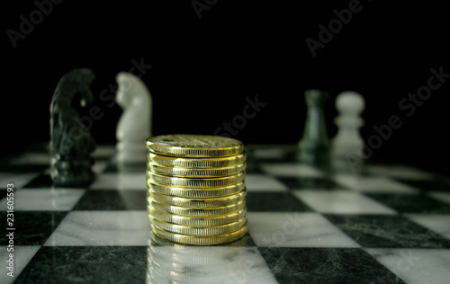 Gold Coins On Chess Board Stock Photo And Royalty Free Images On