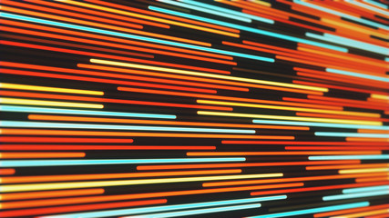 Abstract background of glowing neon red and orange lines 3d illustration