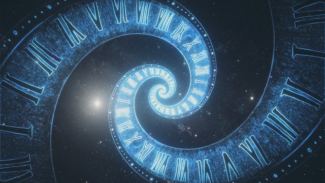 The composition of the space of time, the flight in space in a spiral of Roman clocks 3d illustration
