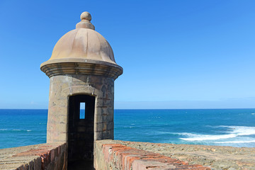 Recess Fitting Caribbean Fortress tower in Old San Juan Puerto Rico
