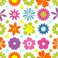 Seamless floral pattern. Repeated flowers and round spots. Vector illustration. green, white color. graphic design for paper, textile print, page fill.