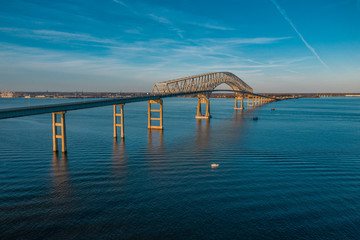 Aerial view of Francis Scott Key Bay bridge over the Patapsco river in Baltimore Maryland