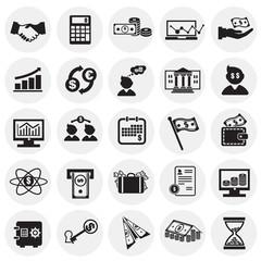Money and finance set on circles white background icons