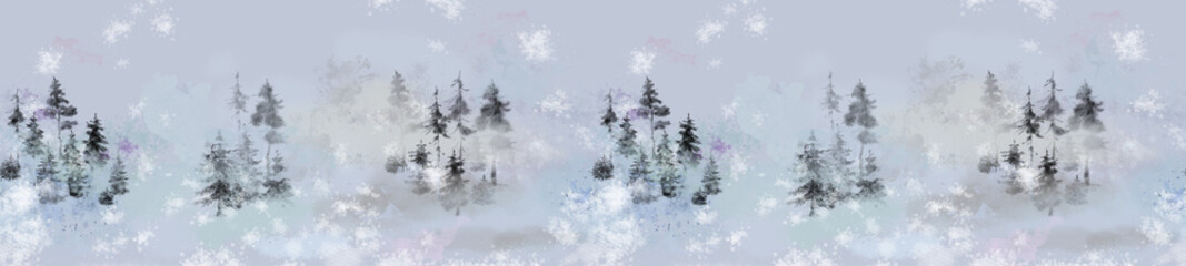 Scenic Pine Forest Landscapes Seamless Border. Great for Print, Design, Background, and Decoration.