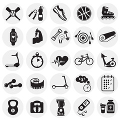 Sport and healthy life set on circles background icons