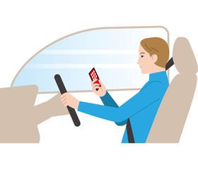 危険な運転. スマートフォン操作でわき見運転.