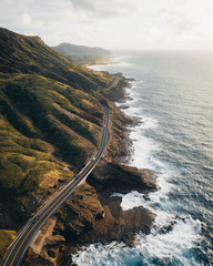 Aerial view of road along the coast of Hawaii