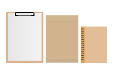 Clipboard with white sheet, brown envelope and notebook on white background. Vector illustration