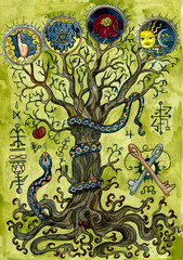Religious concept with knowledge tree, snake, apple, key and mysterious symbols. Occult and esoteric colorful illustration, mysterious gothic background