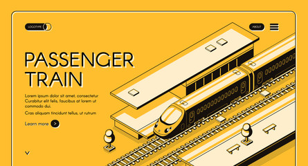 Passenger train isometric vector web banner. High-speed express train on railroad station, line art illustration. Tourism portal or travel agency site template. Railway transport company landing page Fotomurales