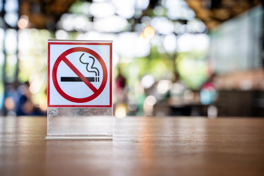 Don't smoke sign No smoking sign in in coffee cafe