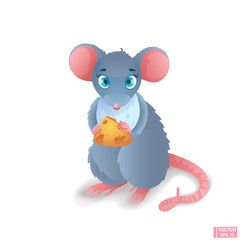 Cartoon gray mouse with cheese.