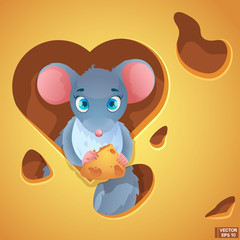 Cartoon mouse in cheese.