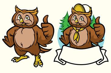 happy owl cartoon set