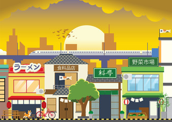 shopping street in japan with flat style