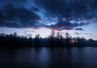 Epic sunset on river landscape background