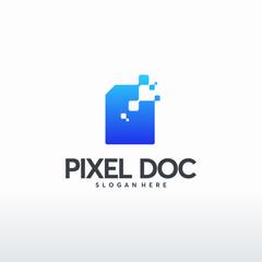 Digital Document logo designs concept vector, Pixel Document logo template, technology Data Icon logo