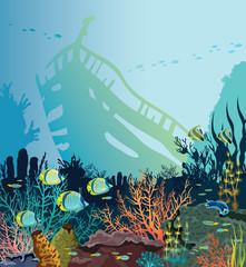 Coral reef, fish, sunken ship. Underwater sea.