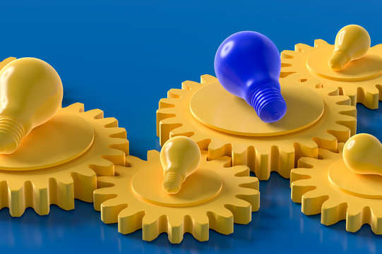 Yellow and Blue light bulb on the gear