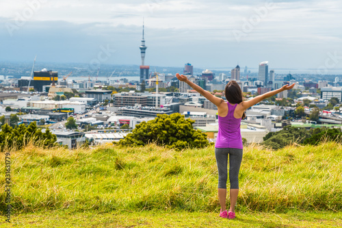 Auckland City Skyline View From Mount Eden Of Sky Tower New Zealand