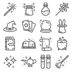 Vector line magic icons set. Outlie illustration