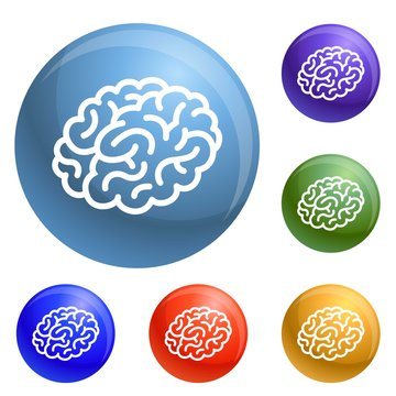 Human brain icons set vector 6 color isolated on white background