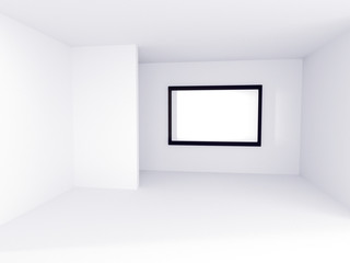 Empty room and empty picture frame , 3D rendering