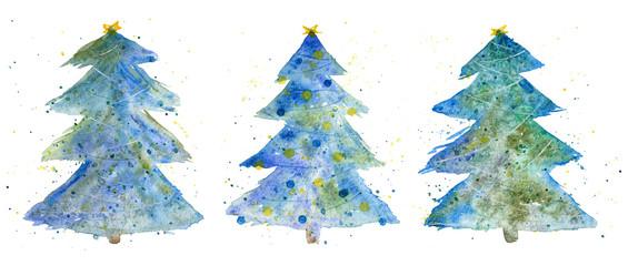 Three decorative Christmas trees. Watercolor set.