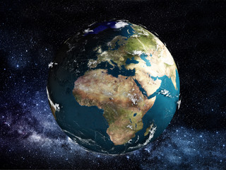 View of Earth from space. 3D illustration