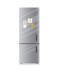 Fridge home kitchen appliances Household freezer with notes Vector illustration chrome metal refrigerator